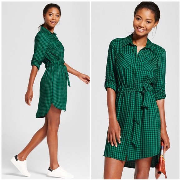 27c21ec8e1 A New Day Dresses   Skirts - A New Day Green Gingham Plaid Shirt Dress M
